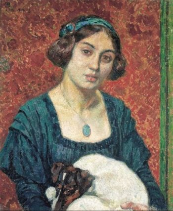 Young lady with a dog | Theo van Rysselberghe | oil painting