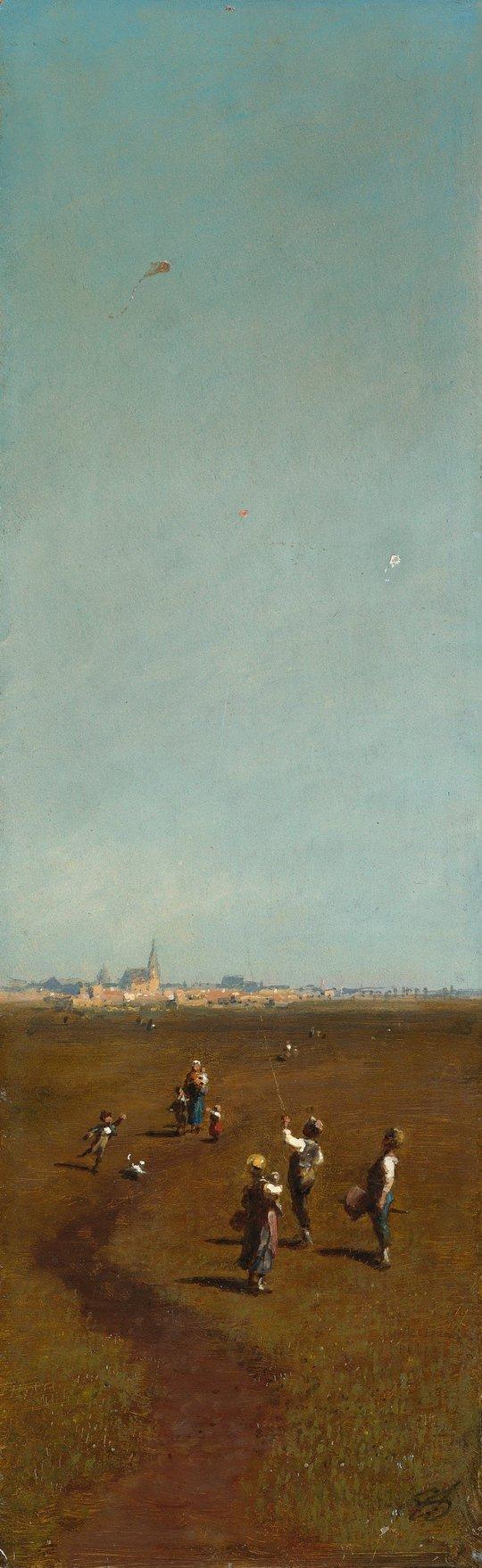 Flying Kites | Carl Spitzweg | oil painting