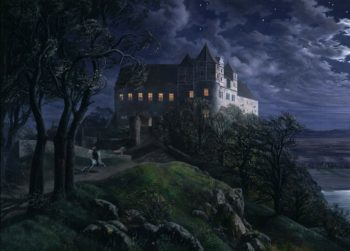 Burg Scharfenberg at Night | Ernst Ferdinand Oehme | oil painting