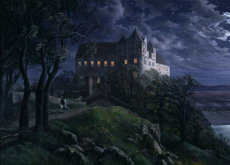 Burg Scharfenberg at Night | Ernst Ferdinand Oehme | oil painting