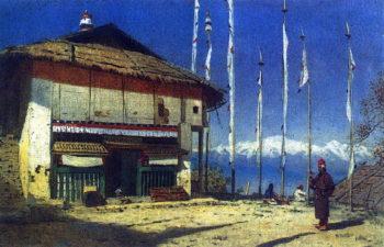 Buddhist temple and Darjeeling Sikkim 1874 | Vasily Vereshchagin | oil painting