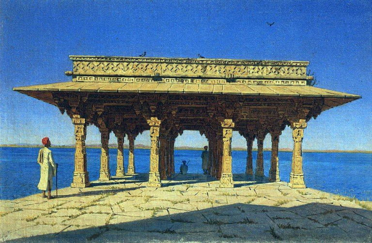 Evening at the lake. One of the pavilions on the waterfront in Marble Radzhnagare Principality of Udaipur 1874 | Vasily Vereshchagin | oil painting