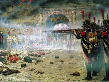 In Defeated Moscow Arsonists or shooting in the Kremlin 1897 1898 | Vasily Vereshchagin | oil painting