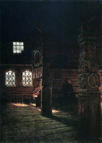 Internal view of the wooden church of St Peter and Paul in Puchuge 1894 | Vasily Vereshchagin | oil painting