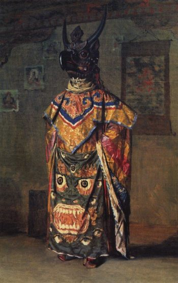 Buddisky Lama at a party in a Monastery Pemionchi Sikkim 1875 | Vasily Vereshchagin | oil painting
