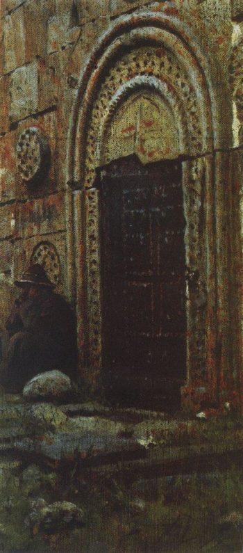 Entrance door to the church under Kazbek 1897 | Vasily Vereshchagin | oil painting