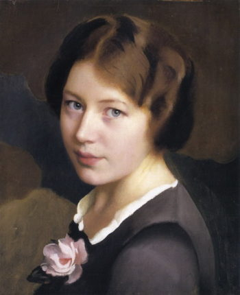 Girl With A Pink Rose | William MacGregor Paxton | oil painting