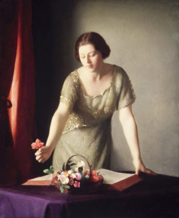 Girl Arranging Flowers | William MacGregor Paxton | oil painting