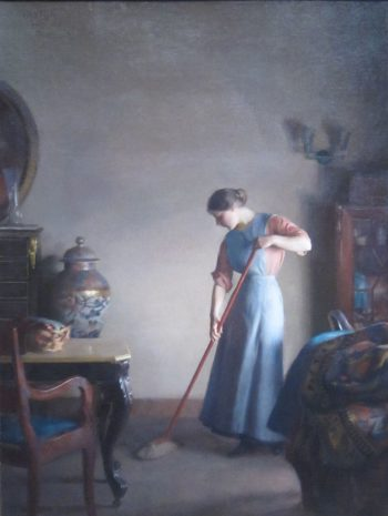 Girl Sweeping | William MacGregor Paxton | oil painting