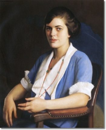 Portrait Of A Young Woman In Blue | William MacGregor Paxton | oil painting