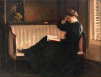 Woman Reading on a Settee | William Worchester Churchill | oil painting