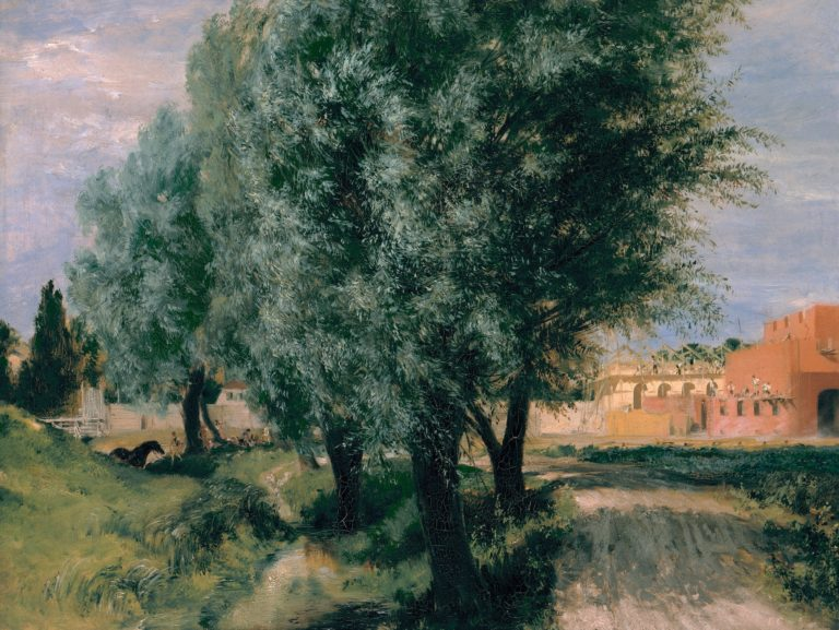 Building Site with Willows | Adolph Menzel | oil painting