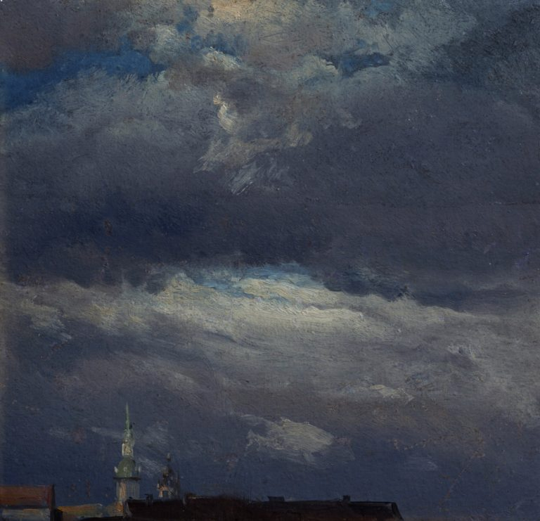 Stormclouds over the Castle Tower in Dresden | Johan Christian Clausen Dahl | oil painting