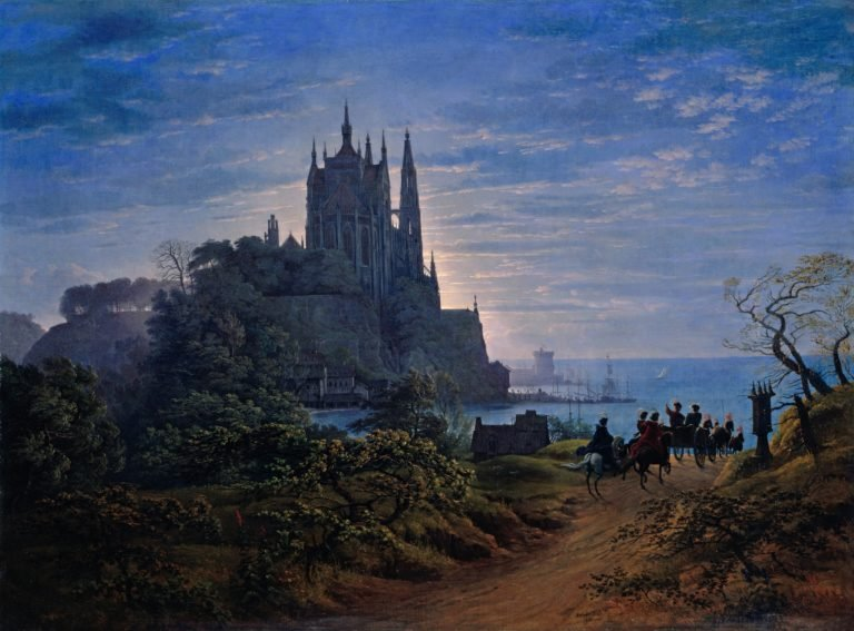 Gothic Church on a Rock by the Sea | Karl Friedrich Schinkel | oil painting