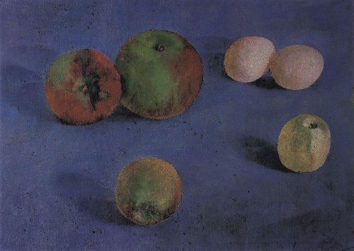 Still Life Apples and eggs 1921   Petrov Vodkin Kuzma Sergeevich   oil painting