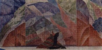 design sketch prologue to the staging of Satans Diary by Leonid Andreev 1922 | Petrov Vodkin Kuzma Sergeevich | oil painting