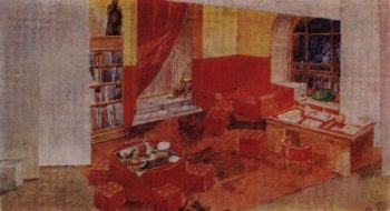 design sketch for staging Diary of Satan by L Andreev 1922 | Petrov Vodkin Kuzma Sergeevich | oil painting