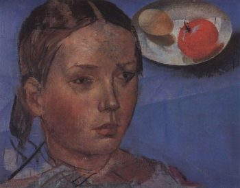 Portrait of the daughter against the background of still life 1930 | Petrov Vodkin Kuzma Sergeevich | oil painting