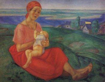 Mother 1 1913 | Petrov Vodkin Kuzma Sergeevich | oil painting
