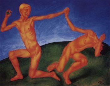 Boys playing boys 1911 | Petrov Vodkin Kuzma Sergeevich | oil painting