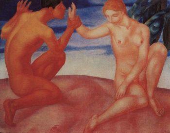 Youth Kiss 1913   Petrov Vodkin Kuzma Sergeevich   oil painting