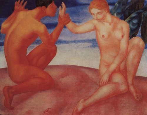 Youth Kiss 1913 | Petrov Vodkin Kuzma Sergeevich | oil painting