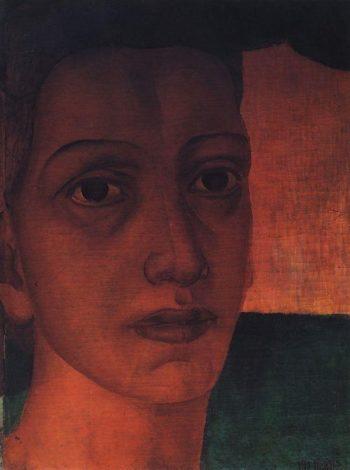 Monumental head 1910 1911 | Petrov Vodkin Kuzma Sergeevich | oil painting