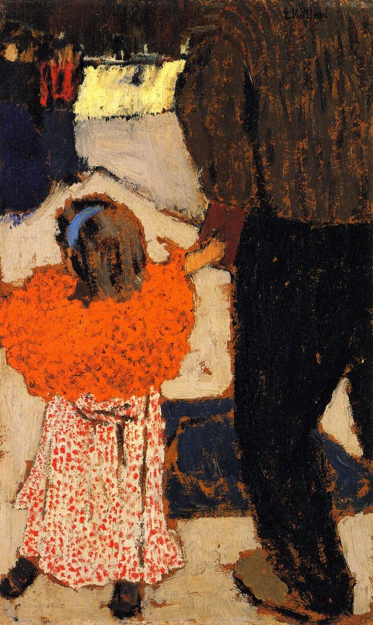 Girl Wearing an Orange Shawl | Edouard Vuillard | oil painting