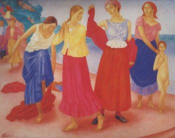 Girls on the Volga 1915 | Petrov Vodkin Kuzma Sergeevich | oil painting