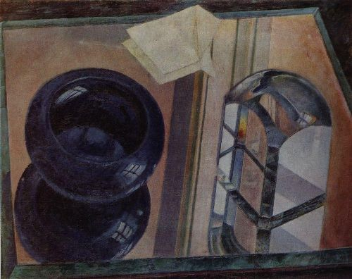 Still Life with an ashtray 1920 | Petrov Vodkin Kuzma Sergeevich | oil painting