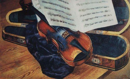 Violin 1916   Petrov Vodkin Kuzma Sergeevich   oil painting