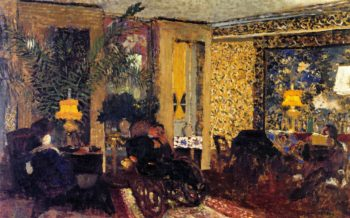 Interior The Salon with Three Lamps Rue Saint Florentin | Edouard Vuillard | oil painting
