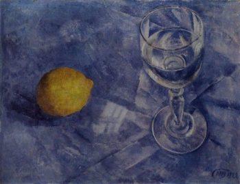 Glass and lemon 1922 | Petrov Vodkin Kuzma Sergeevich | oil painting