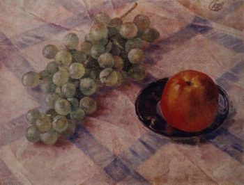 Grapes and apples 1921 | Petrov Vodkin Kuzma Sergeevich | oil painting