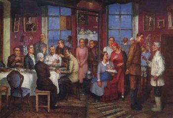 Housewarming Work Petrograd 1937 | Petrov Vodkin Kuzma Sergeevich | oil painting