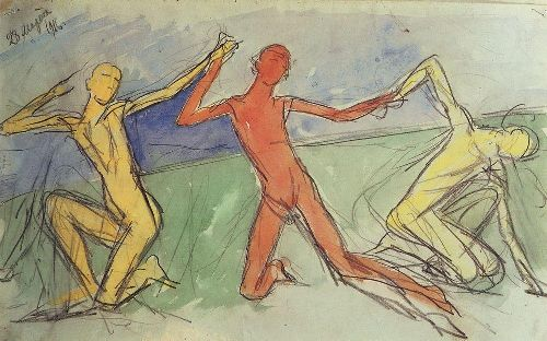Boys 1916   Petrov Vodkin Kuzma Sergeevich   oil painting