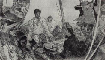 sketch panel Stepan Razin 1918 | Petrov Vodkin Kuzma Sergeevich | oil painting