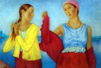Two girls 1915 | Petrov Vodkin Kuzma Sergeevich | oil painting