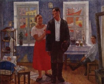 First demonstration Family working on the first anniversary of October 1927 | Petrov Vodkin Kuzma Sergeevich | oil painting