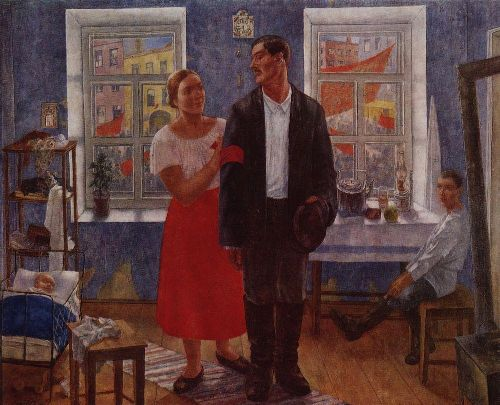 First demonstration Family working on the first anniversary of October 1927   Petrov Vodkin Kuzma Sergeevich   oil painting