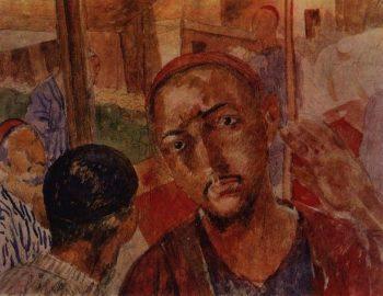 In the tea house 1921 | Petrov Vodkin Kuzma Sergeevich | oil painting