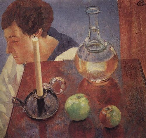 Still Life A candle and a decanter 1918 | Petrov Vodkin Kuzma Sergeevich | oil painting