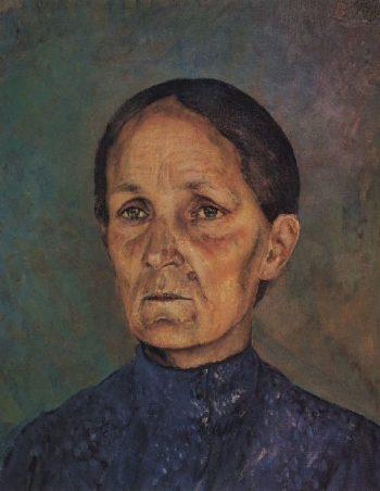 Portrait AP Petrova Vodkin mother of the artist 1909 | Petrov Vodkin Kuzma Sergeevich | oil painting