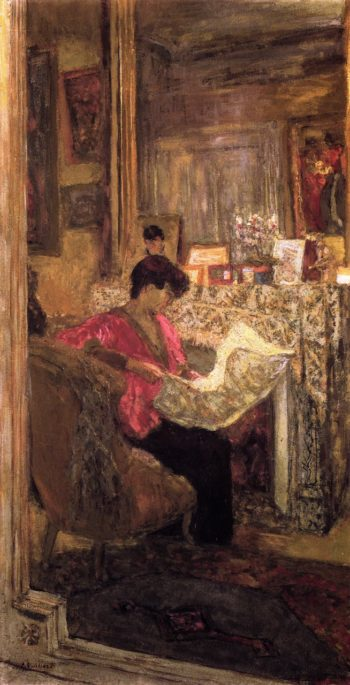 Lucy Hessel Reading the Newspaper rue de Naples | Edouard Vuillard | oil painting
