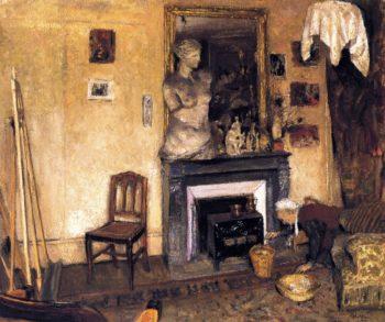 Madame Vuillard Lighting the Stove | Edouard Vuillard | oil painting