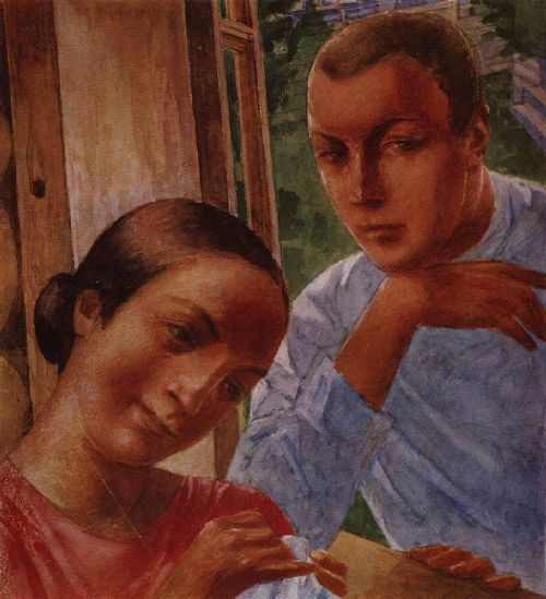 Spring in the Country 1 1929   Petrov Vodkin Kuzma Sergeevich   oil painting