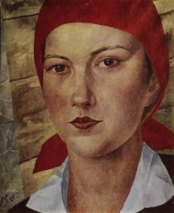 Girl in red scarf worker 1925 | Petrov Vodkin Kuzma Sergeevich | oil painting