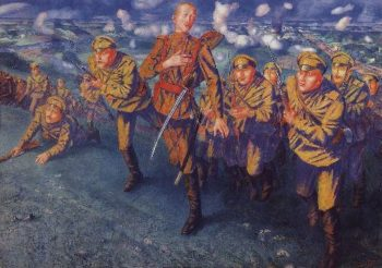 On the line of fire 1916 | Petrov Vodkin Kuzma Sergeevich | oil painting