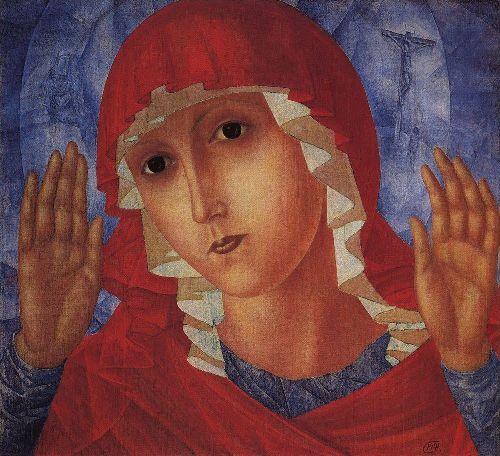 Virgin of Tenderness evil hearts 1914 1915 | Petrov Vodkin Kuzma Sergeevich | oil painting