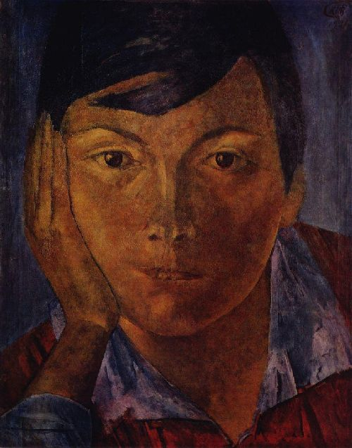 yellow face female face 1921 | Petrov Vodkin Kuzma Sergeevich | oil painting